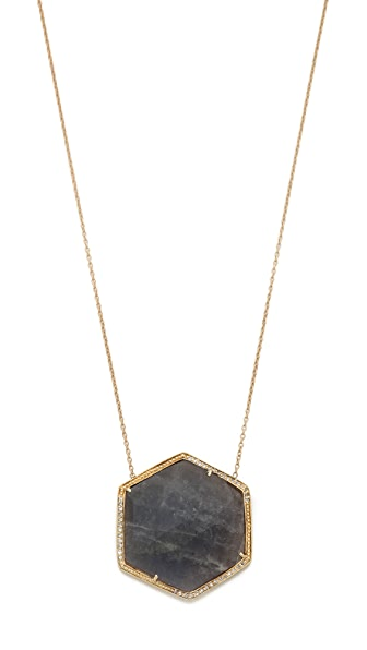 Jacquie Aiche Pave Large Hexagon Bezel Necklace