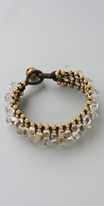JADEtribe Brass & Clear Bead Braided Cuff