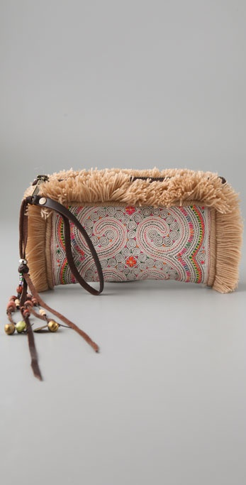 JADEtribe Panada Fringe Recycled Clutch