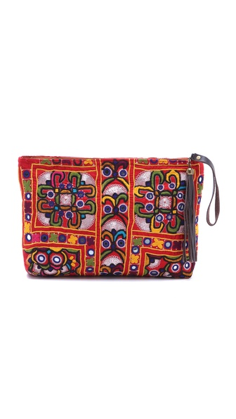 JADEtribe Embroidered Clutch with Tassel