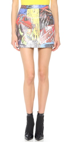 J.W. Anderson Car Print Leather Miniskirt