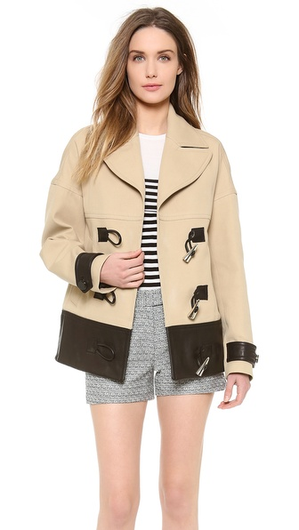 Jason Wu Cropped Combo Toggle Coat