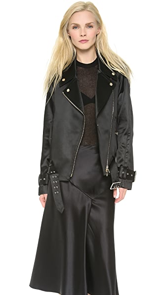 Jason Wu Bonded Satin Motorcycle Jacket