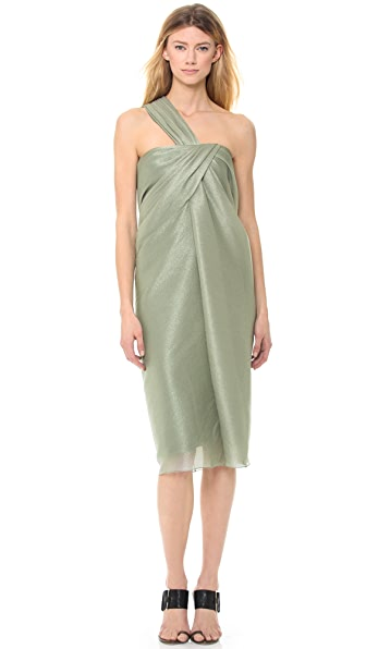 Jason Wu Metallic Bias Draped One Shoulder Dress
