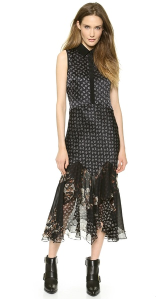 Jason Wu Silk Bias Hem Shirtdress