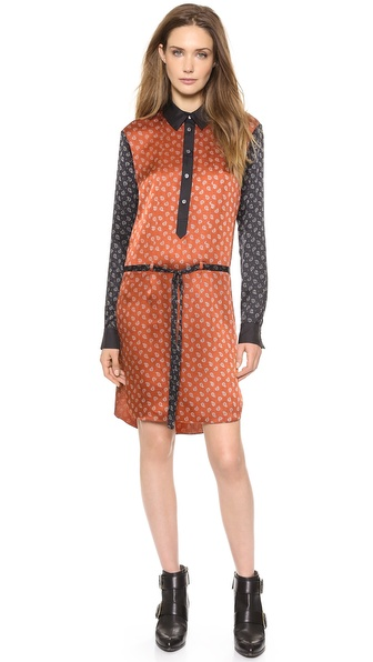 Jason Wu Paisley Shirtdress with Self Belt