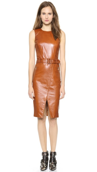Jason Wu Leather Motorcycle Sheath Dress