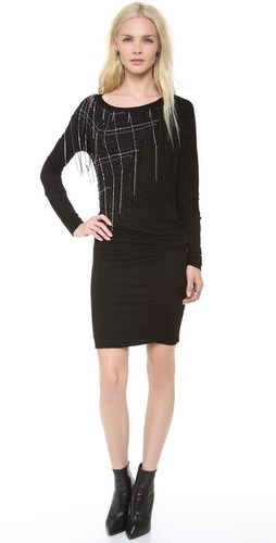 Jay Ahr Side Embroidered Jersey Dress