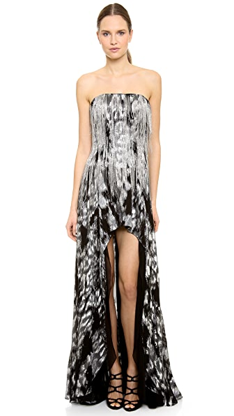 Jay Ahr Strapless Silver Jacquard Gown