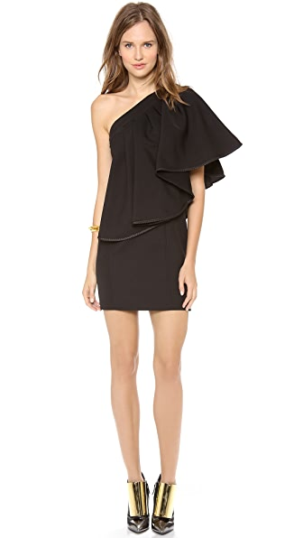 Jay Ahr One Shoulder Dress with Leather Trim