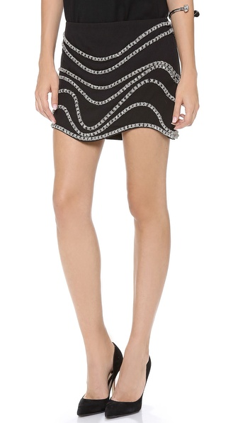 Jay Ahr Chain Embroidered Miniskirt