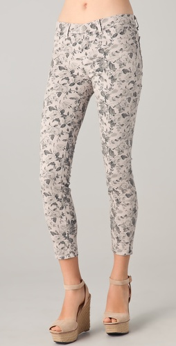 J Brand Floral Cropped Skinny Jeans