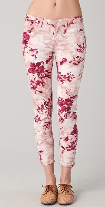 J Brand Large Floral Capri Skinny Jeans