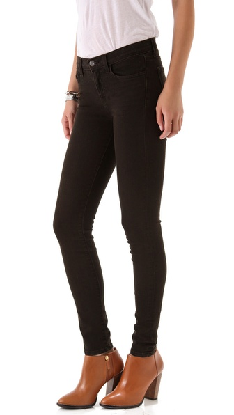 J Brand 811 Mid Rise Skinny Blackened Jeans