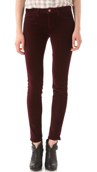 J Brand Mid Rise Velvet Skinny Pants