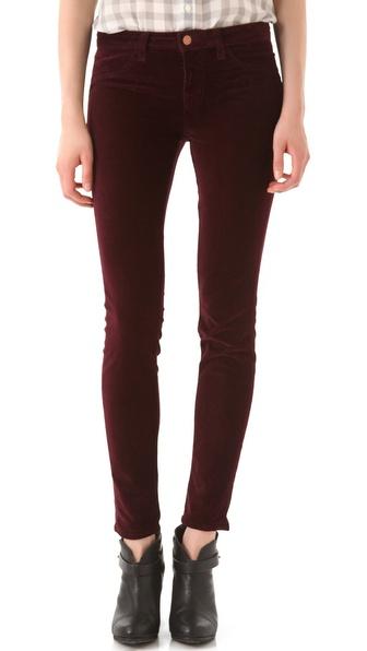 J Brand Mid Rise Velvet Skinny Pants