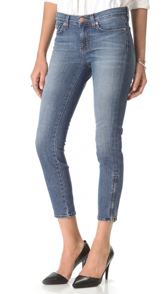 J Brand Mid Rise Capri Zip Jeans