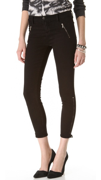 J Brand Carey Zip Moto Capri Jeans