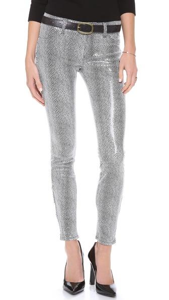 J Brand Foil Leather Skinny Jeans