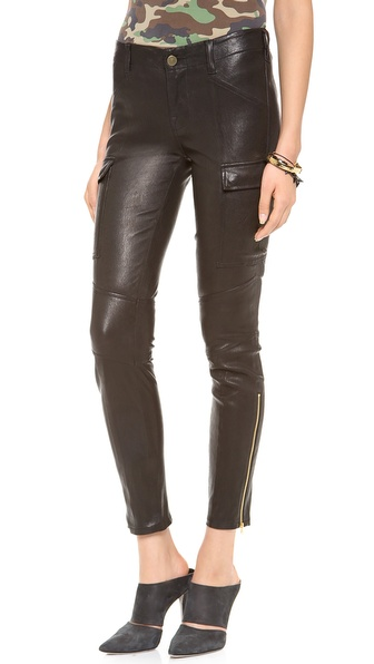 J Brand Leather Houlihan Cargo Pants
