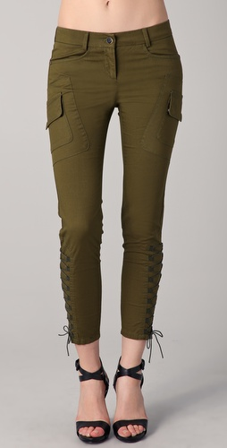 Just Cavalli Cargo Pants with Lace Up Details