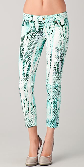 Just Cavalli Python Print Cropped Skinny Pants
