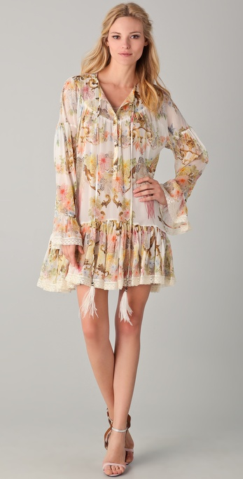 Just Cavalli Butterfly Baroque Print Dress