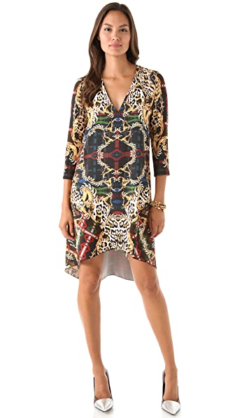 Just Cavalli Print Dress with Uneven Hem