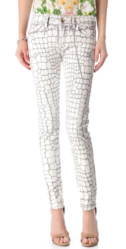 Just Cavalli Croc Coated Skinny Jeans