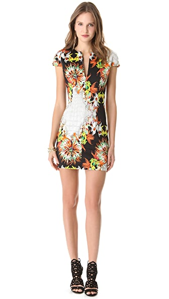 Just Cavalli V Neck Cap Sleeve Dress