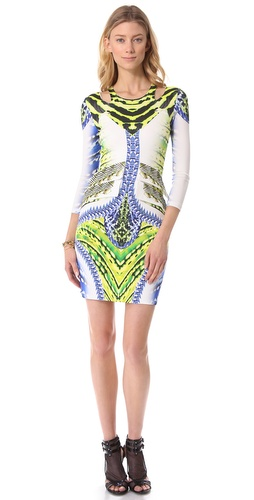 Shop Just Cavalli Printed Long Sleeve Dress and Just Cavalli online - Apparel, Womens, Dresses, Cocktail, Night_Out,  online Store