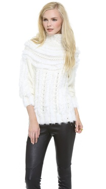 Just Cavalli Textured Fur Turtleneck Sweater