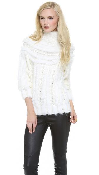 Just Cavalli Textured Fur Turtleneck Sweater