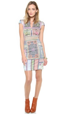 Just Cavalli Morris Print Cap Sleeve Dress
