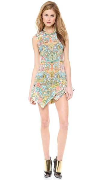 Just Cavalli Acanthus Embroidery Print Mini Dress