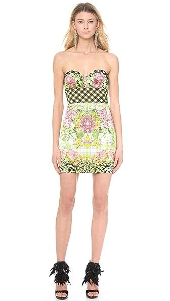 Just Cavalli Plaid Bustier Dress