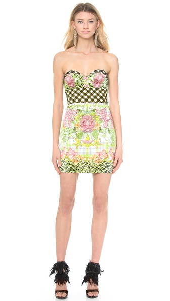 Shop Just Cavalli online and buy Just Cavalli Plaid Bustier Dress Seaside Miami Print - This Just Cavalli sheath dress makes a sweet statement in a mix of playful prints. Molded underwire cups and boned sides provide structure. Hidden back zip. Optional, adjustable straps. Unlined. Fabric: Lightweight stretch satin. 97% polyester/3% elastane. Dry clean. Made in Italy. MEASUREMENTS Length: 23in / 58.5cm, from center back. Available sizes: 36,44