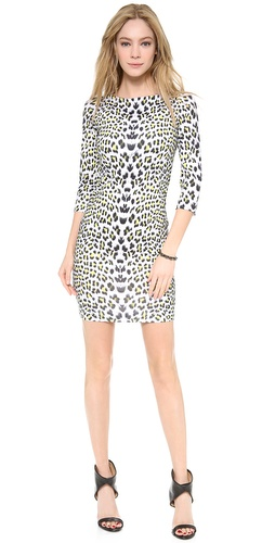 Shop Just Cavalli online and buy Just Cavalli Leopard Punk Print Dress - Colored spots brighten the snow-leopard print on this Just Cavalli dress, bringing daring edge to the formfitting silhouette. 3/4 sleeves. Lined bodice. Unlined skirt.  Fabric: Smooth, slinky jersey. 85% polyamide/15% elastane. Wash cold. Imported, Turkey.  MEASUREMENTS Length: 34in / 86.5cm, from shoulder - Leopard Punk Print