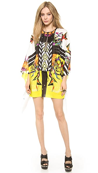 Just Cavalli Tartan Flower Print Caftan Dress