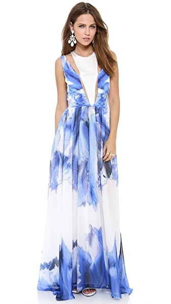 Just Cavalli Blue Orchid Print Gown