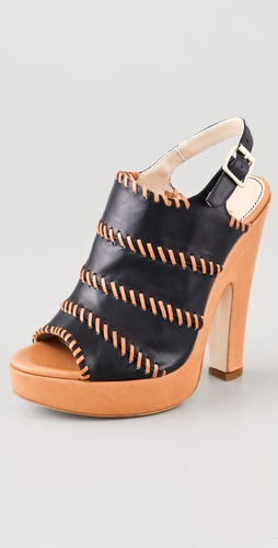 Jerome C. Rousseau Niro Leather High Heel Sandals