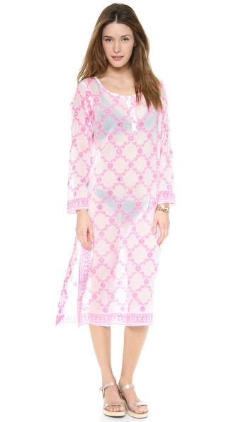 Juliet Dunn Crisscross Print Long Caftan