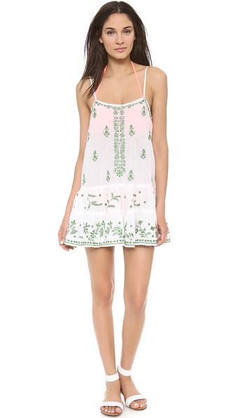 Shop Juliet Dunn online and buy Juliet Dunn Camisole Pintuck Dress White-Green Metallic - Delicate embroidery provides an artful quality to this Juliet Dunn mini dress. Pleats accentuate the flared hem. Adjustable straps. Semi sheer. Fabric: Embroidered voile. 100% cotton. Dry clean. Imported, India. MEASUREMENTS Length: 33.5in / 85cm, from shoulder. Available sizes: 3