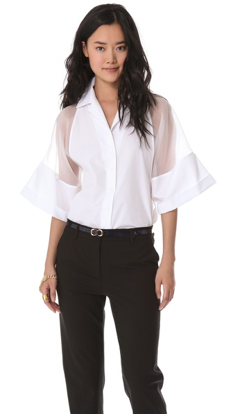 Jean Paul Gaultier Short Sleeve Poplin Top