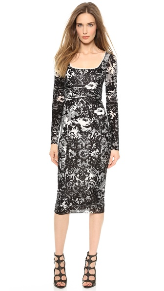 Jean Paul Gaultier Flocked Sheath Dress