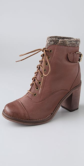 Jeffrey Campbell Sweat Lace Up Booties with Knit Cuff