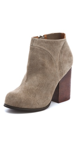 Shop Jeffrey Campbell online and buy Jeffrey Campbell Hanger Suede Raw Booties - FREE SHIPPING at shopbop.com. Distressed suede booties with a zip closure and elastic gusset at the inner side. Stacked suede heel and rubber sole.  Leather: Cowhide. Imported. This item cannot be gift-boxed.  MEASUREMENTS Heel: 3.5in / 90mm - Taupe