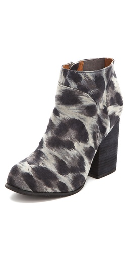 Jeffrey Campbell Hanger Suede Snow Leopard Print Booties