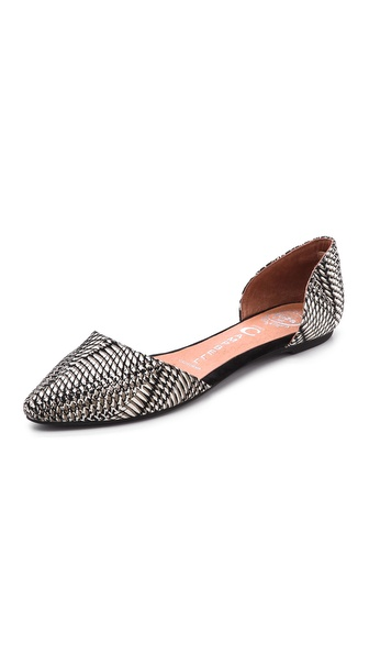 Jeffrey Campbell In Love Printed D'Orsay Flats - Black Optical