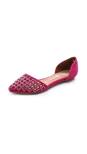Jeffrey Campbell In Love Studded D'Orsay Flats - Fuchsia